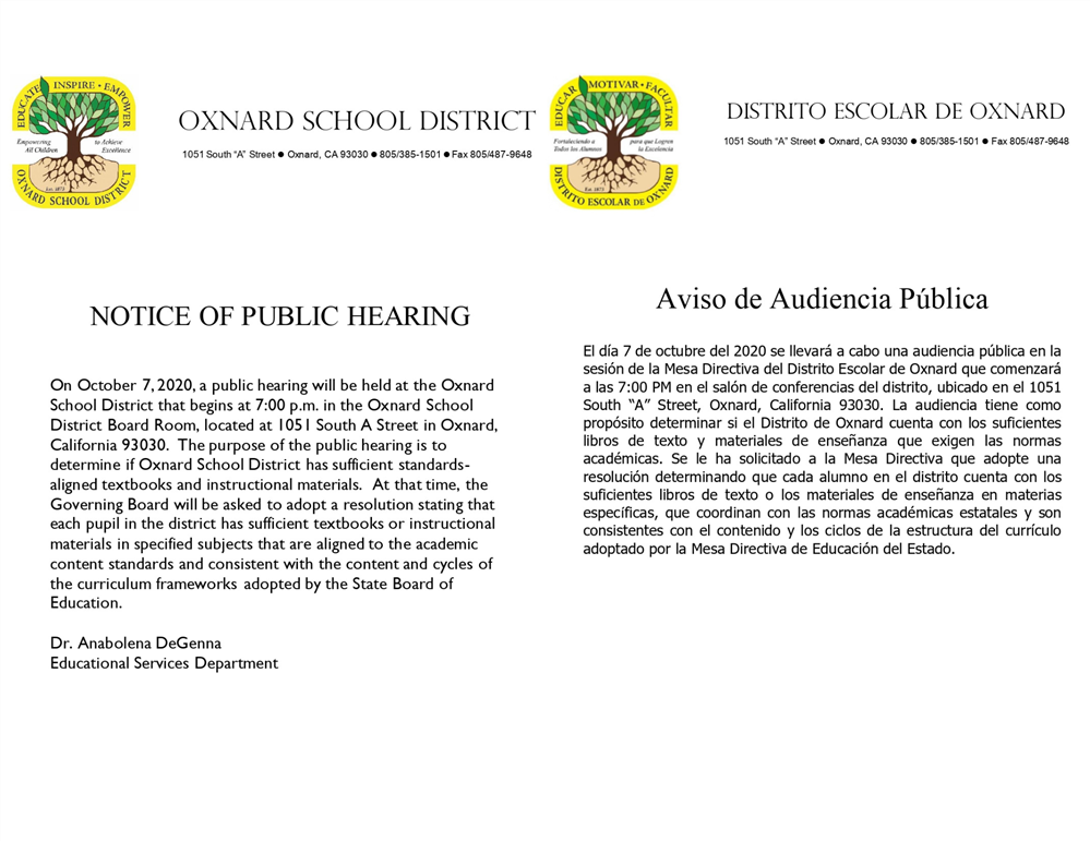 Notice of Public Hearing/ Aviso de Audiencia Pública