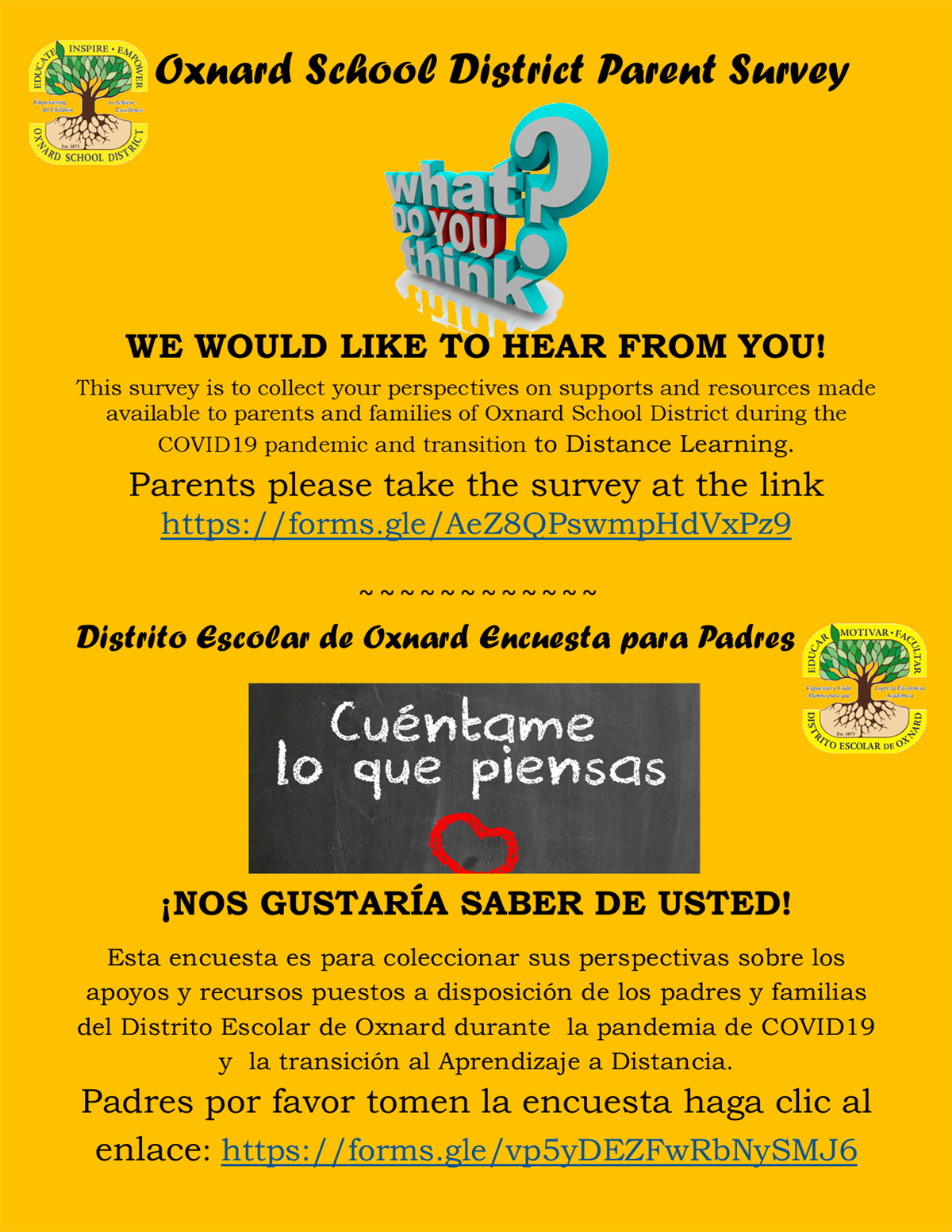 Distance Learning Parent Survey