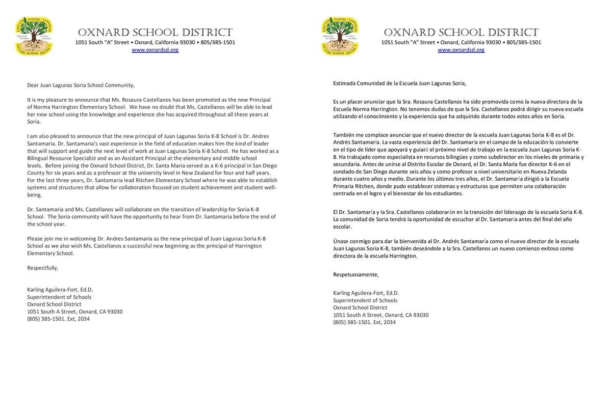 Letter from Superintendent to Soria Families