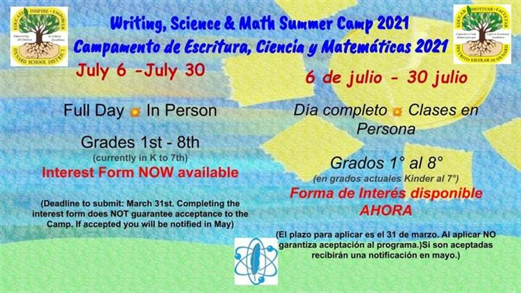 Writing, Science & Math Summer Camp