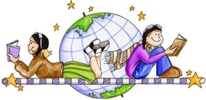 drawing of two children reading with the world and stars behind them.