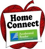 Accelerated Reader Home Connect Logo, drawing of a red apple behind it
