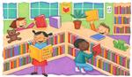 Drawing of kids in a library