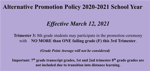 New Promotion Policy for the 2020-2021 School Year