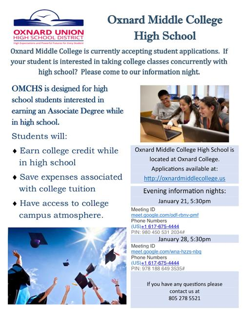 Upcoming events for Oxnard Middle College High School
